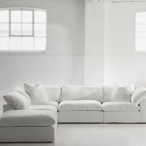 Andrew Martin Truman White Sectional Sofa / Armless