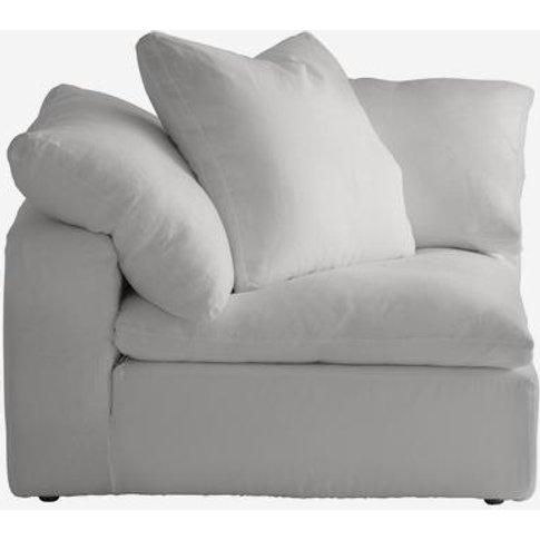 Andrew Martin Truman Large White Linen Sectional Sof...