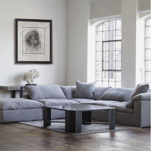 Andrew Martin Truman Large Grey Linen Sectional Sofa...