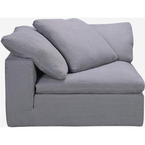 Andrew Martin Truman Large Grey Linen Sectional Sofa / Armless