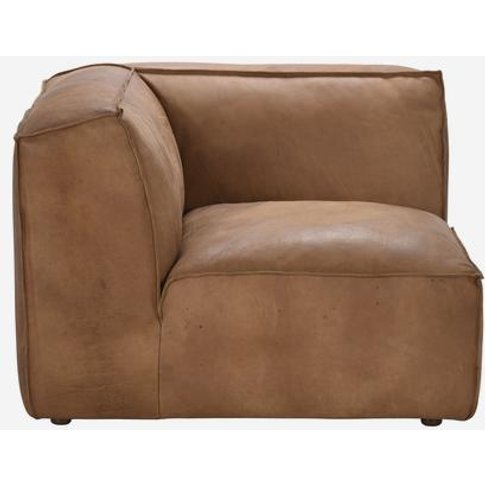 Andrew Martin Byron Sectional Sofa In Tan Brown Leat...