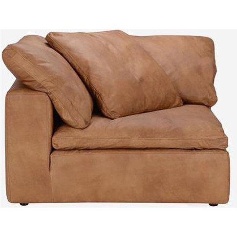 Andrew Martin Truman Large Tan Leather Sofa / Footst...