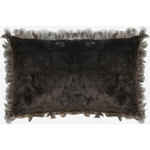 Andrew Martin Vince Charcoal Cushion With Guinea Fea...