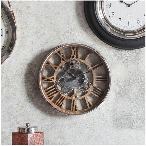 Gallery Fairbank Industrial Wall Clock In Polished N...