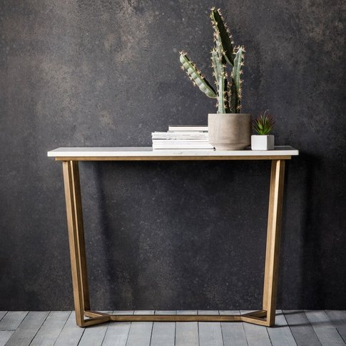 Hudson Living Cleo Marble Console Table In Gold