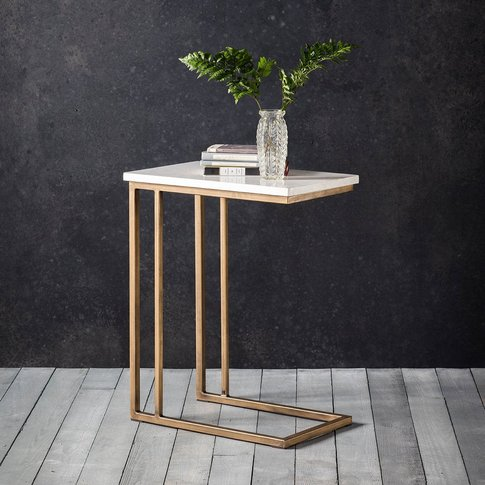 Hudson Living Cleo Marble Supper Side Table In Gold