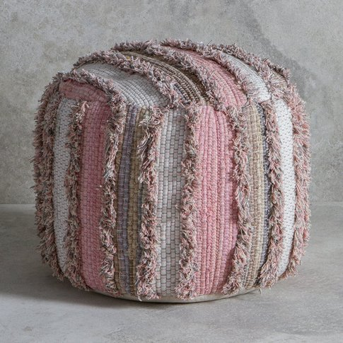 Gallery Direct Opal Textured Pouffe In Blush