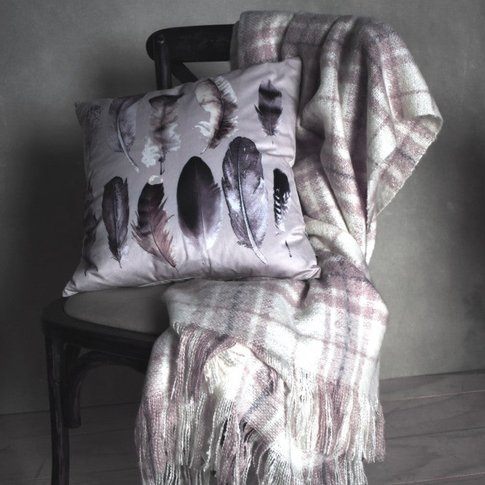 Gallery Direct Check Mohair Throw Heather