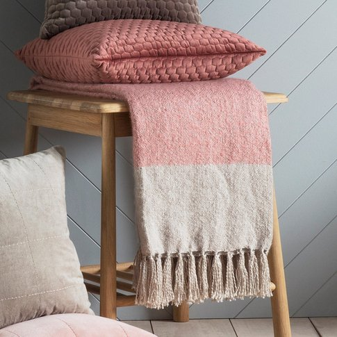 Gallery Direct Tonal Mohair Throw In Blush & Silver