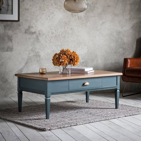 Gallery Bronte 1 Drawer Coffee Table In Storm Blue