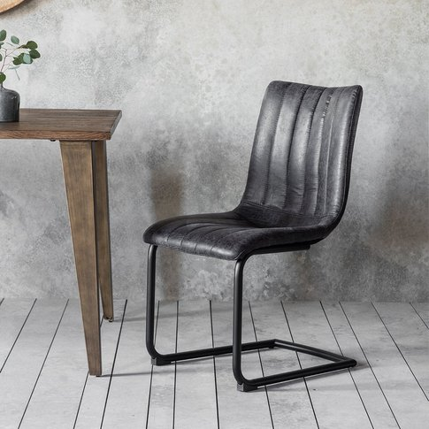 Gallery Direct Set Of 2 Edington Faux Leather Grey D...
