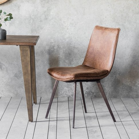 Gallery Direct Set Of 2 Hinks Leather Brown Dining C...