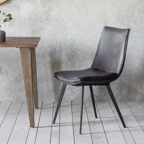 Gallery Direct Set Of 2 Hinks Leather Grey Dining Ch...