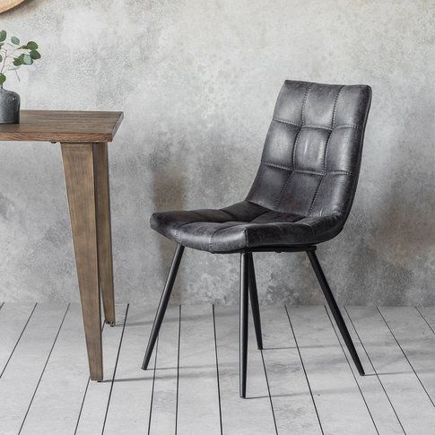 Gallery Direct Set Of 2 Darwin Grey Leather Dining C...