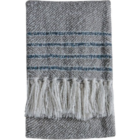 Gallery Direct Border Stripe Throw Grey