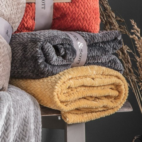 Gallery Direct Chevron Flannel Fleece Throw Ochre