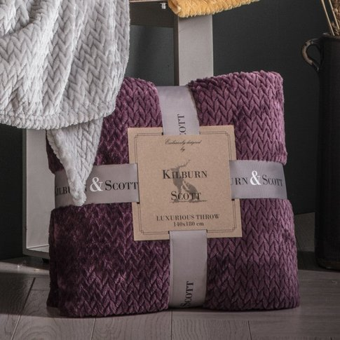 Gallery Direct Chevron Flannel Fleece Throw Plum