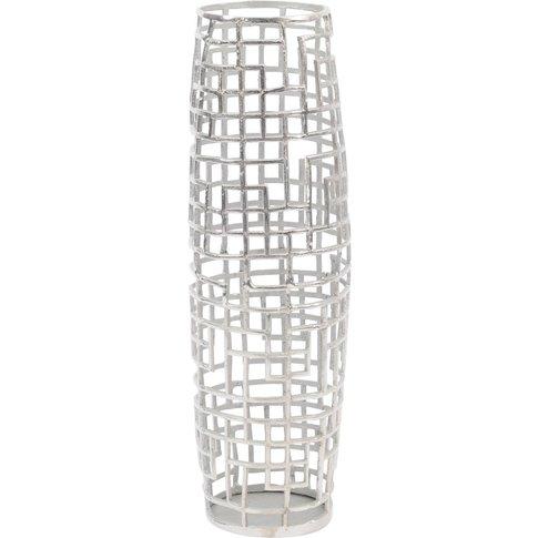 Libra Timor Silver Grid Small Barrel Vase