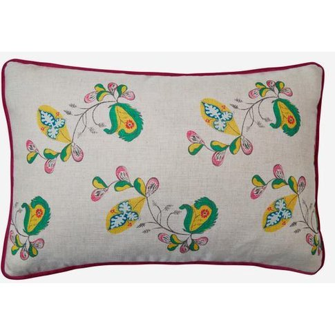 Andrew Martin Psycho Sprig Tropical Yellow Cushion