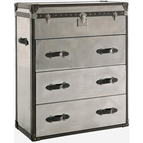 Andrew Martin Steel & Leather Chest Of Drawers