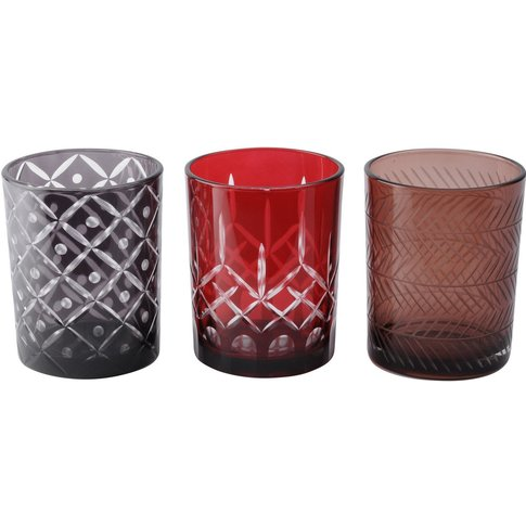Libra Large Set Of 3 Grey Brown And Red Cut Votives ...