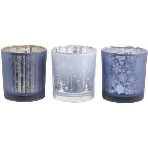 Libra Festive Blue Set Of 3 Tealight Holders - Xmas-19