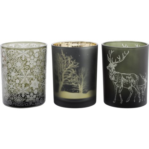 Libra Festive Green Large Set Of 3 Votive Holders - ...