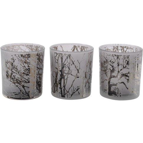 Libra Festive Branches Smoke Set Of 3 Tealight Holde...