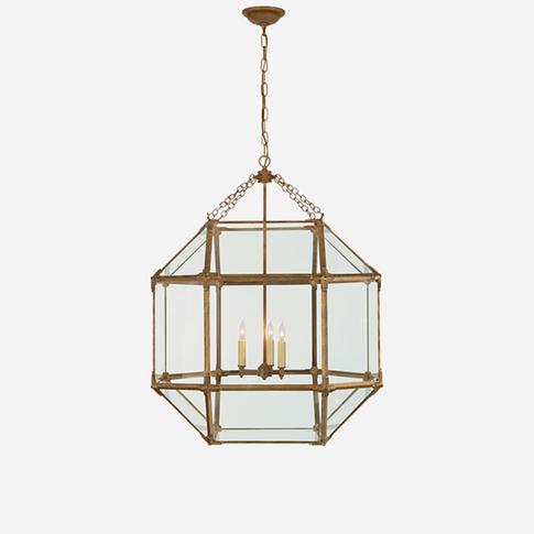 Andrew Martin Morris Medium Pendant Light - Gilded Iron (Clear Glass)