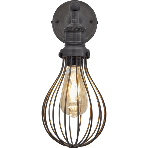 Industville Brooklyn Balloon Cage Wall Light - 6 Inch - Pewter / Pewter