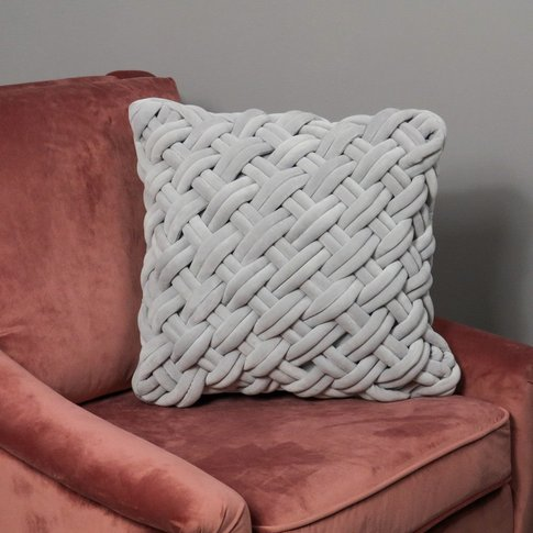 Native Home Grey Handknotted Velvet Cushion Cover