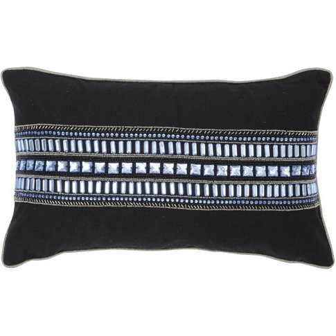 Libra Halcyon Black And Blue Rectangular Cushion 50x...