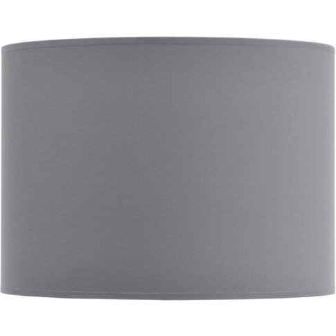 "Libra Grey And Silver Lined Drum 14"" Lampshade"