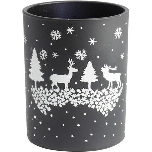 Libra Christmas Winter Scene Candle Holder Black