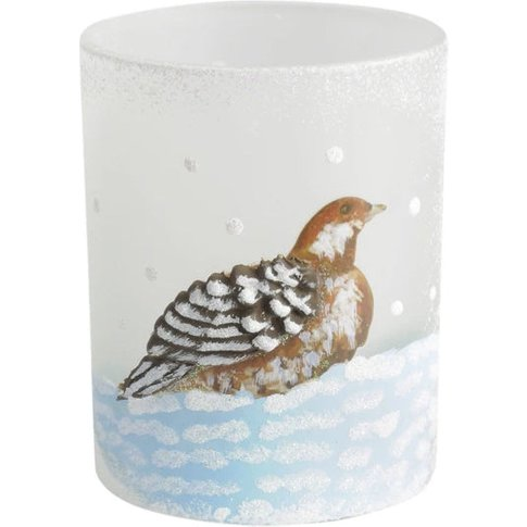 Libra Winter Scene With Partridge Candle Holder