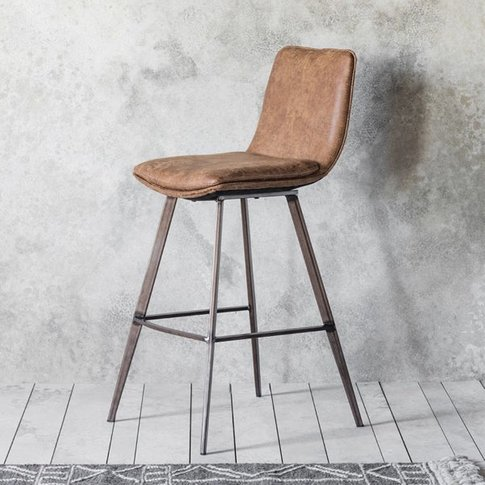 Gallery Direct 2x Palmer Brown Leather Bar Stool