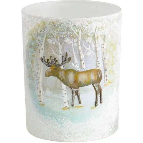 Libra Winter Scene With Moose Candle Holder - Xmas-18