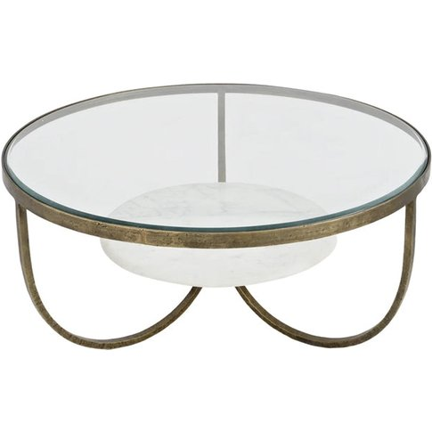 Libra Nolita White Marble And Antique Gold Iron Coffee Table