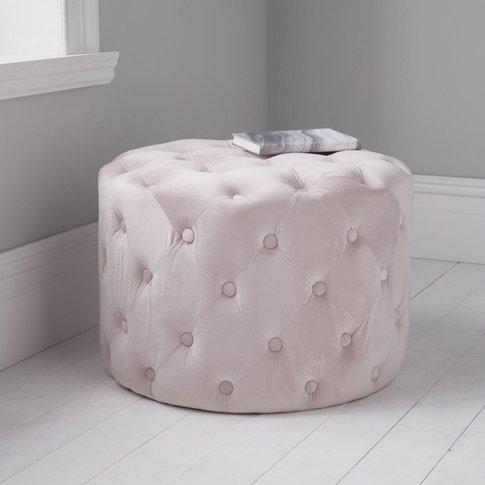Native Home Pastel Pink Tufted Velvet Pouffe