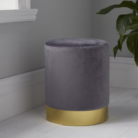 Native Home Round Grey Velvet Stool - Gold Finish