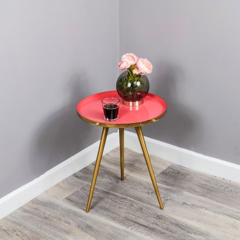 Native Home Side Table Coral Enamel Tray