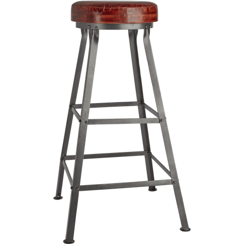 Industville Tall Real Leather & Metal Work Bar Stool...