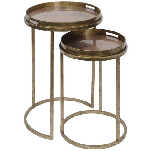 Libra Vienna Antique Gold Atlas Set Of 2 Side Tables