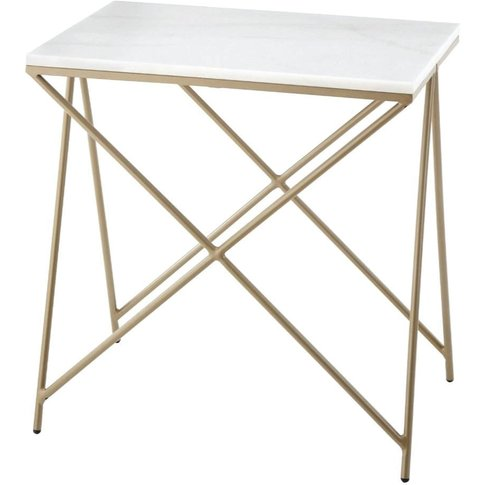 Niall, Gold Finish Frame &Marble Top Side Table