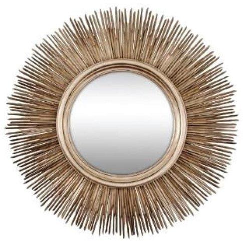 Sun Mirror, Champagne Silver Leaf Finish