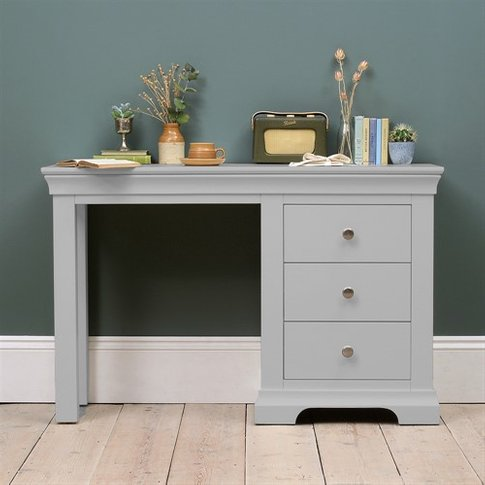 New Chantilly Grey Single Pedestal Dressing Table / ...