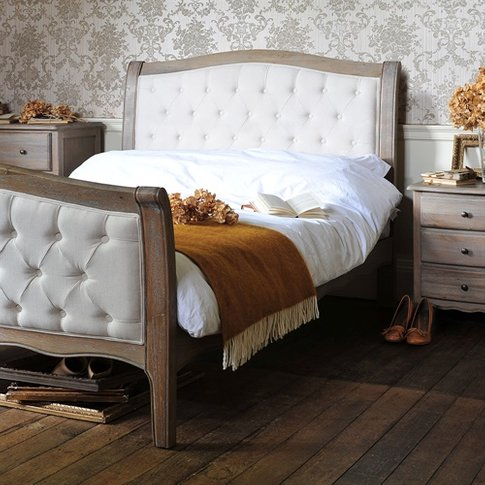 Camille Limewash Oak Buttoned 5ft Kingsize Bed