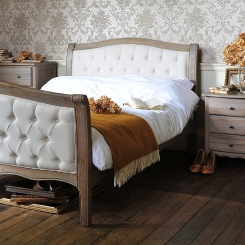 Camille Limewash Oak Buttoned 6ft Super King Bed
