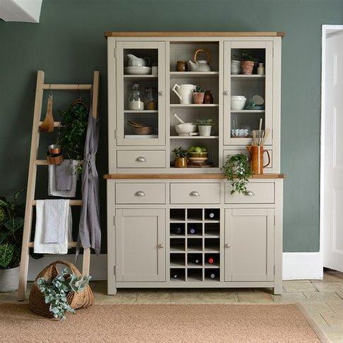 Lundy Stone Grey Dresser With Wine Rack