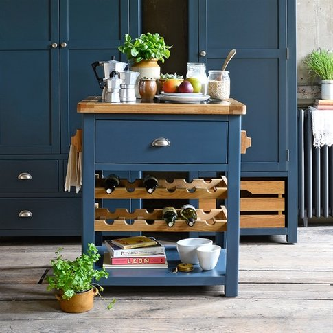 Westcote Blue Small Butchers Block with Wine Rack